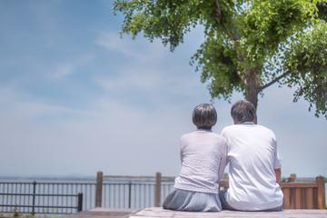 公園のベンチに座るシニア夫婦の後ろ姿