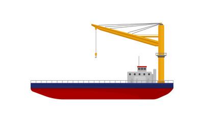 Floating crane, industrial ship, cargo transportation service vector Illustration on a white background