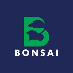 B letter bonsai abstract logo design template