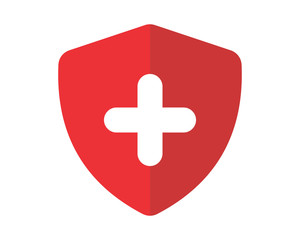 red plus shield secure protect image vector icon logo symbol