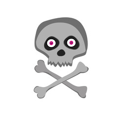 Vector cartoon skeleton scull with pink eyes isolated on white background.
