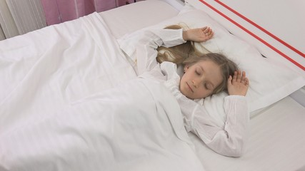 Sleeping Child Face in Bed, Little Girl Portrait Resting in Bedroom at Home