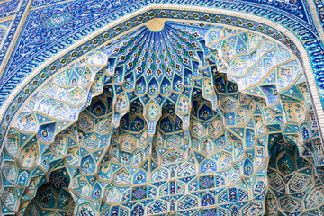 Detail of Gur-E Amir Mausoleum, the tomb of the Asian conqueror Tamerlane or Timur, in Samarkand, Uzbekistan