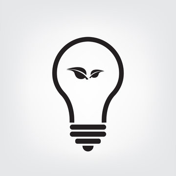 light blub icon  with small leaf icon oen white background