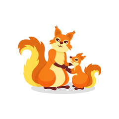 Mother squirrel and her little baby. Cute forest rodents with fluffy tails. Flat vector element for children book or postcard
