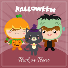 halloween card with cartoon costume kids