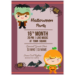 halloween party poster template with cartoon costume kids frankenstein
