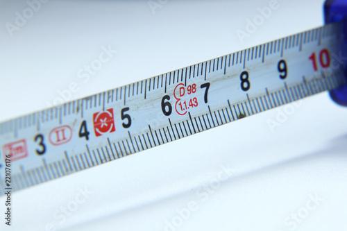 a tape measure show us ten centimetre in european standards stock