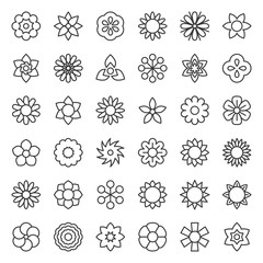 flower and floral logo icon isolated vector, editable stroke