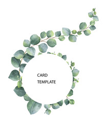 Watercolor vector card template design with eucalyptus leaves and branches.