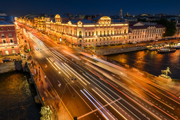 St. Petersburg from the roof, Anichkov Bridge over the Fontanka and Nevsky Prospect