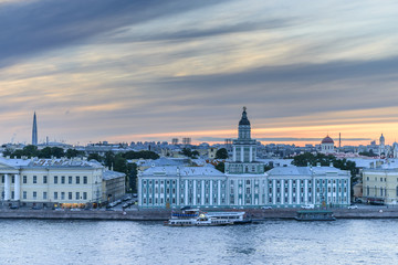 St. Petersburg from the roof, the river Neva and Kunst camera