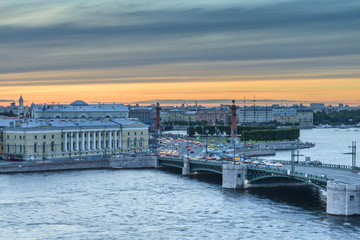 St. Petersburg from the roof, the Palace Bridge and the Neva River