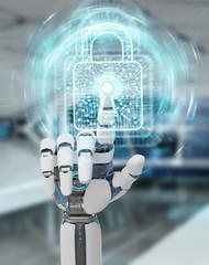White robot hand securing digital datas 3D rendering
