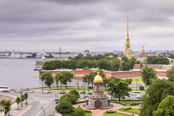 View of St. Petersburg from the roofs, Trinity Bridge over the Neva and Peter and Paul Fortress