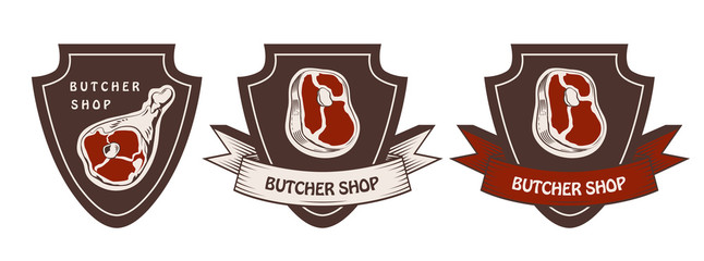 Design template of butchery label. Meat shop logo. Butcher market logotype. Vector illustration.