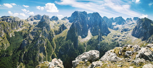Wall Murals Mountains panorama of mountains in national park Prokletije in Montenegro