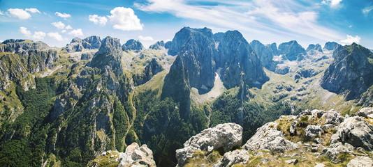 Zelfklevend Fotobehang Bergen panorama of mountains in national park Prokletije in Montenegro
