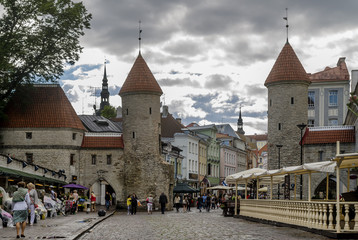 View of the Viru Gate and the medieval towers of the Old Town of Tallinn, Estonia