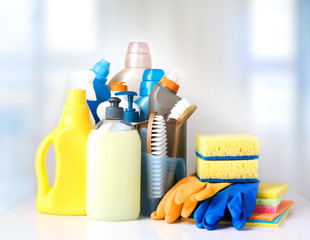Sanitary household cleaning items objects.