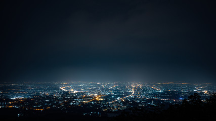 aerial view, night city view with night sky.  natural winter night view in Thailand Fotomurales