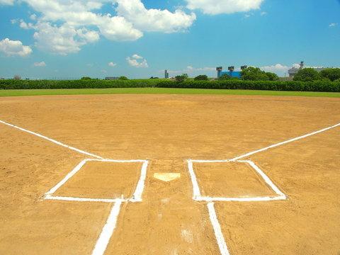 江戸川河川敷の野球場風景