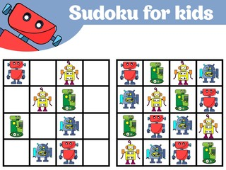 Sudoku game for children with pictures. Logic game for preschool children. Rebus for children. Educational game vector illustration Robot