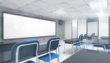 bright modern classroom interior with desks and chairs, education 3D render illustration template
