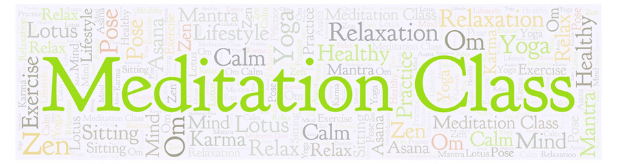 Meditation Class in banner shape word cloud.