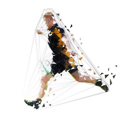 Rugby player kicking ball, low polygonal vector illustration, side view. Geometric shape