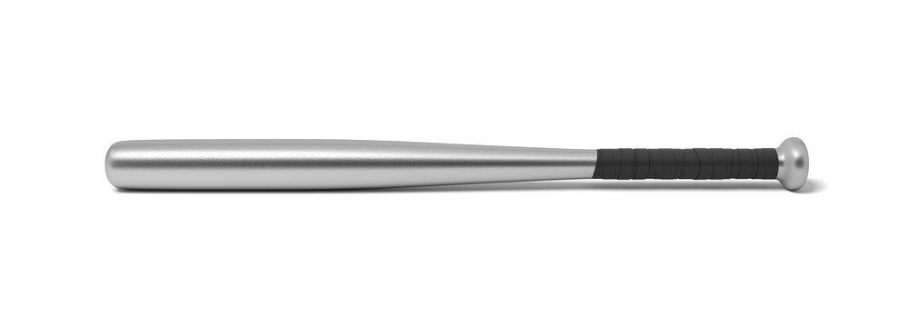 3d rendering of a single metal baseball bat with a wrapped handle isolated on a white background.