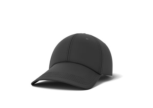3d rendering of a single new baseball cap made in black textile material lying on a white background.