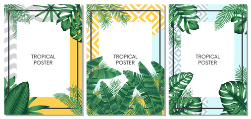 Summer tropical vector set design for cards, poster or flyer with exotic palm leaves Wall mural