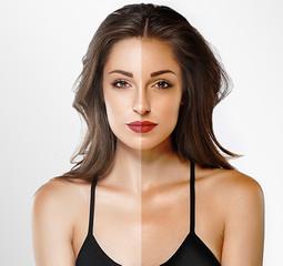woman tan half face beautiful portrait