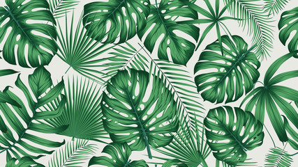 Trendy seamless tropical pattern with exotic leaves and plants jungle Wall mural