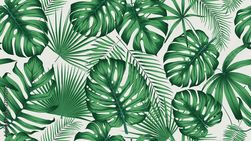 Wall mural Trendy seamless tropical pattern with exotic leaves and plants jungle