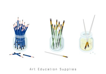 Art Supply, Craft Paintbrush or Artist Brushes and Sharpened Pencils in Glass Jar for Drawn and Paint A Picture Isolated on White Background. Sign for Welcome Back to School.r