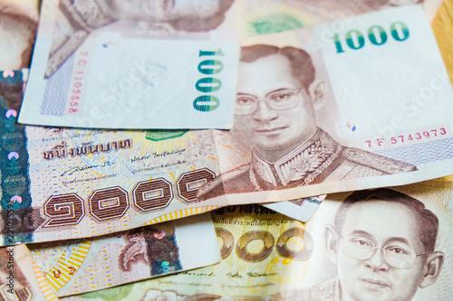 Thailand 1000 Bath Value Money Note Background
