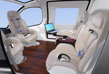 Passenger Drone Interior with front passenger seats turned backward. Headsets on each seats. Laptop PC on small table. 3D rendering image.