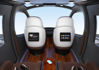 Passenger Drone interior. Monitor mounted on seats backrest. Headsets on each seats and smartphone on small table. 3D rendering image.
