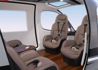 Passenger Drone Interior with front passenger seats turned backward. Headsets on each seats. 3D rendering image.