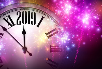 Pink shiny 2019 New Year background with clock and fireworks.