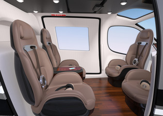 Side view of Passenger Drone Interior. Front passenger seats turned backward. 3D rendering image.