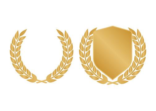 Golden shields laurel badges collection. Gold medal vector illustration.