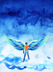 human angel wing mind heaven power watercolor painting illustration hand drawn
