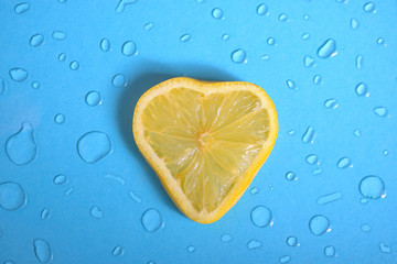 Heart shape of Lemon slice