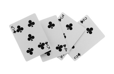Playing cards isolated on white background with clipping path