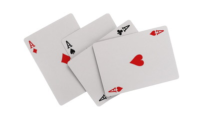 Playing cards, poker, four aces isolated on white background with clipping path