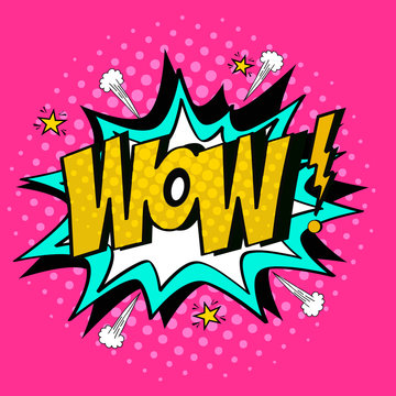 WoW/Comic speech bubble with expression text,stars and clouds. Pop art WoW