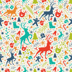 Christmas background with colourful ornaments. Vector.